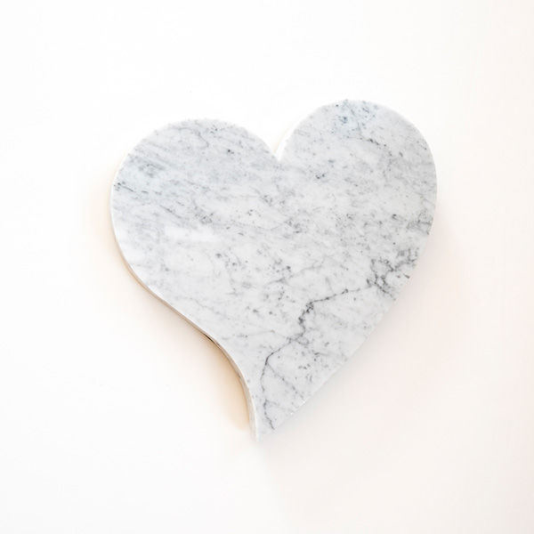 Heart Shaped Slab - White Marble