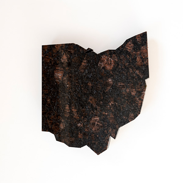 Red Granite Ohio : Lazy susan shape of ohio brown red anything granite